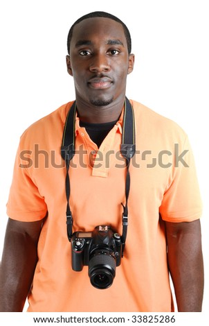 This is an image of student photographer with a camera. - stock photo