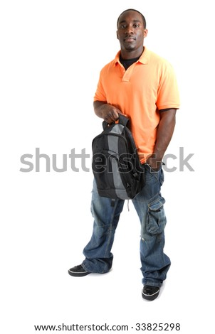 This is an image of student standing confidently with a bag. - stock photo