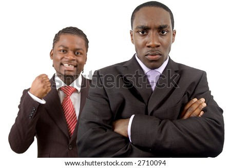 "This is an image of two businessmen one is angry and the other is happy. This image can be used to represnt ""Anger in the Face of Success"" themes - stock photo"