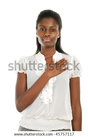 This is an image of young woman with hand across his chest. - stock photo