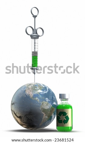 This is an injection of Heath to the Earth - stock photo