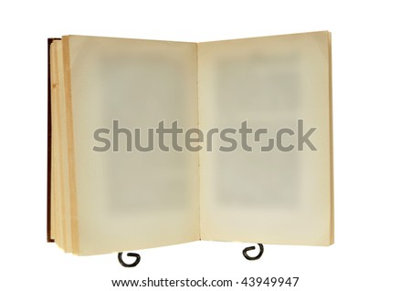 This is an old empty blank book on a stand isolated on a white background - stock photo
