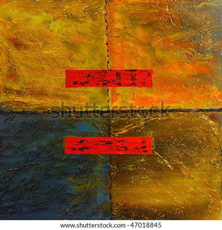 This Is an Original Oil painting,Oil and Mixed media on Canvas - stock photo
