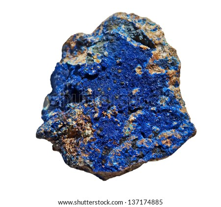 This is azurite, a cobalt blue color stone that is a mineral of soft copper carbonate, isolated on a white background.
