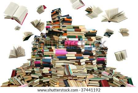This is books scramble. Many books on white background. - stock photo