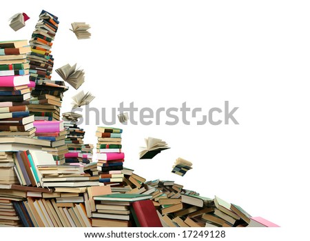 This is books scramble. Many books to scatter under sky. - stock photo