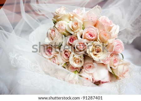 This is closeup of wedding bouquet