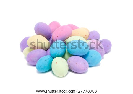 This is Colorful Easter Eggs with speckles - stock photo