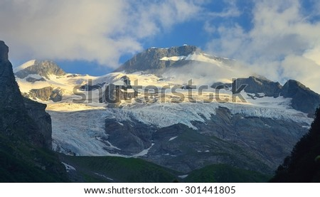 This is colorful glacier in Caucasus mountains in summer
