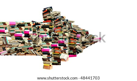 This is dart from books. This a pointer where is sellout of the books. - stock photo