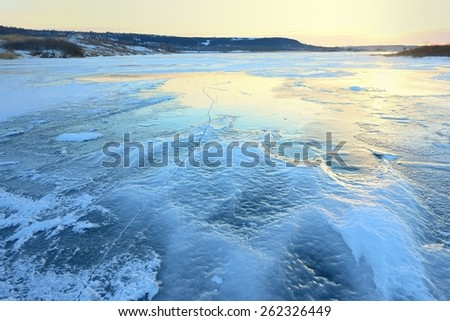 This is frozen lake  in Caucasus wood in winter - stock photo