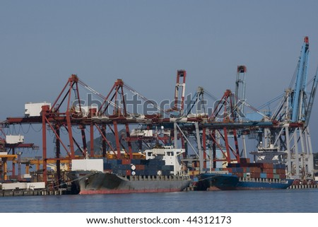 This is Keelung Port (also spelled jilong or chilong).  It's one of the busiest ports in East Asia.  It situation on the Pacific Coast, on the northeast coast of Taiwan - stock photo