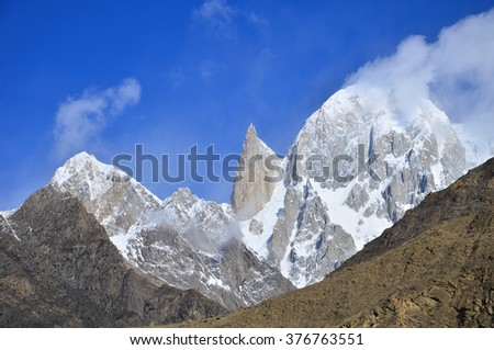 This is lady's finger peak in Hunza valley , northern of Pakistan