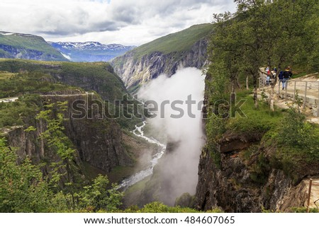 This is Norwegian river gorge Bereyu at the crash site Voringsfossen waterfall.
