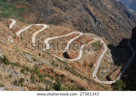 This is not far away from Lijiang famous road bends 18. - stock photo