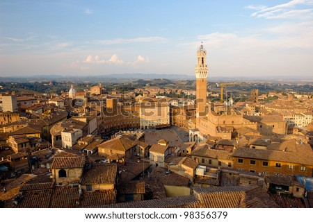 This is one of Italy's most famous squares, and the one with the most original shape. Piazza del Campo stands on the site that was once an ancient Roman forum, opposite Palazzo Pubblico. - stock photo