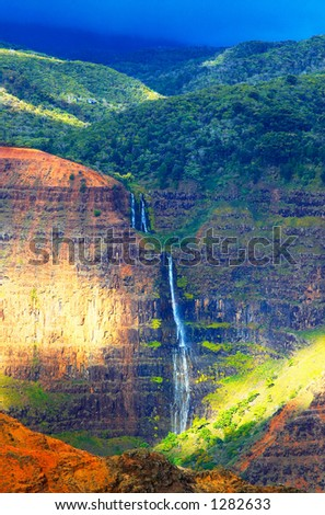 This is one of the most famous and pretty falls on Kauai Island. More with keyword Series001D. - stock photo