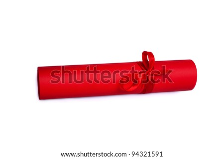 This is Rolled red paper with red tape - stock photo