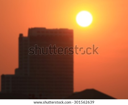 this is sky and sun and city and blur - stock photo