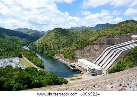 This is Srinagcrarin Dam in Kanchanaburi,Thailand - stock photo