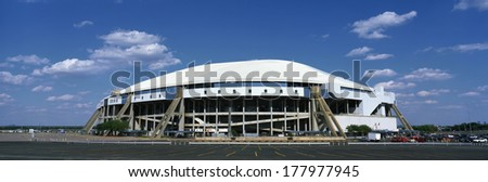 This is Texas Stadium. It is the home of the Dallas Cowboys. - stock photo