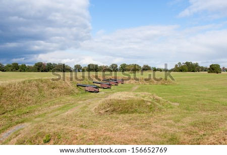 This is the American - French position on the battlefield at Yorktown. This is the site of the pivotal battle that won American independence. - stock photo