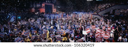This is the 1992 Democratic National Convention at Madison Square Garden. Bill Clinton and Al Gore received the Presidential and Vice Presidential Nominations. - stock photo