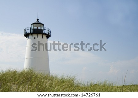 This is the Edgar Harbor Light House Martha's vineyard - stock photo