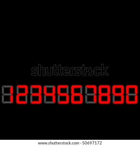 This is the font that is used in digital clocks. Red in color and slightly glowing in front of gray 8s