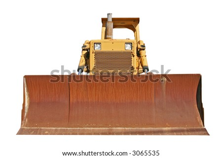 This is the front view of a well worn bulldozer. isolated on white.