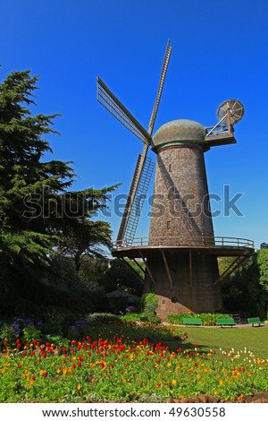 This is the Golden Gate Park North Dutch Windmill in San Francisco. - stock photo