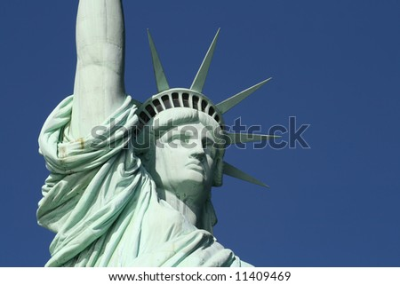 this is the head and shoulders of the Statue of Liberty