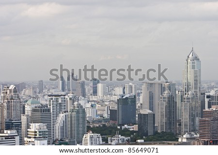 This is the high view angle shot of Cityscape. It's the Center of Bangkok City.