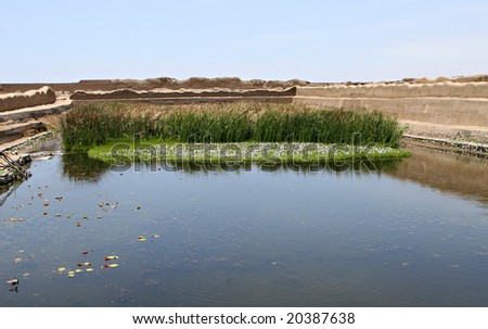 This is the King of Chan Chan's private water supply fed by an underground spring - stock photo