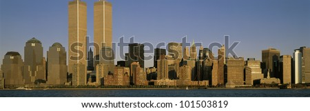This is the Manhattan skyline  at sunset. It shows the density of the buildings in downtown Manhattan.