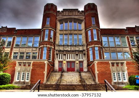 This is the old high school in downtown Roanoke Va. now called the Jefferson Center - stock photo