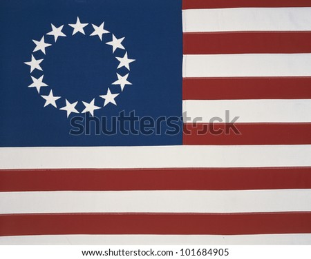 This is the original colonial flag with 13 stars representing the 13 original states at the time of the American Revolutionary War. - stock photo