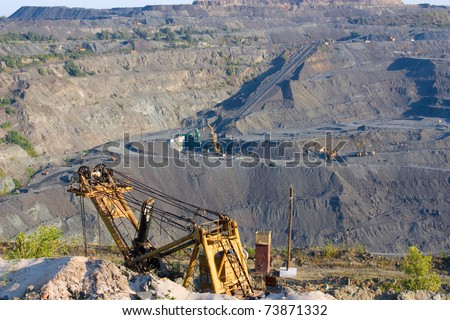 This is the quarry for the extraction of iron ore - stock photo