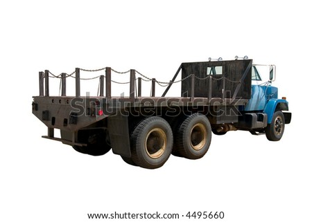 This is the rear view of a large flat bed straight truck. isolated on white. - stock photo
