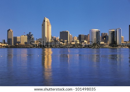 This is the San Diego Bay in morning light. - stock photo
