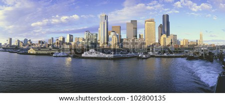 This is the skyline and harbor of Seattle.