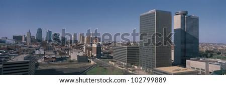 This is the skyline of Kansas City, Missouri. - stock photo