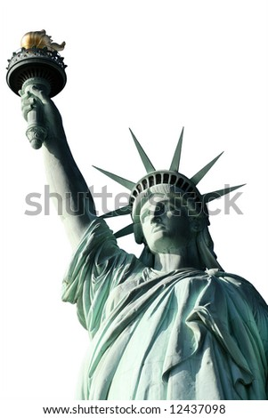 This is the top half of the Statue of Liberty  isolated - stock photo