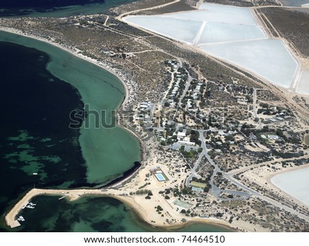 This is the Useless Loop township, of Western Australia - aerial view. It is a salt mining area. - stock photo