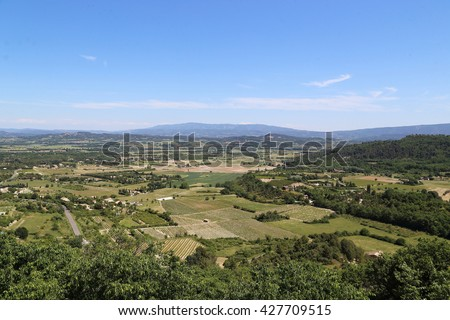 This is view of the Luberon valley in the Provence landings. - stock photo