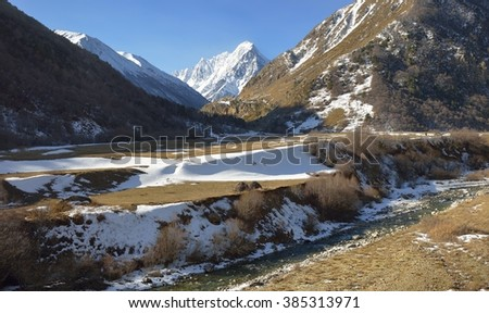 This is warm day in Caucasus mountains in spring