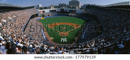 This is Yankee Stadium. This was the Yankees' 114th victory. The score was 8 to 3 over the Tampa Bay Daredevils. The Yankees were the 1998 World Champions. The attendance at this game was 49,680. - stock photo