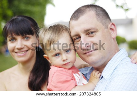 this is young family on outdoor - stock photo