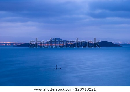 This islands in La Manga when under the moonlight are unique and beautiful - stock photo