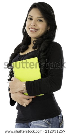 This lady have a book on her hand and she is smiling  - stock photo